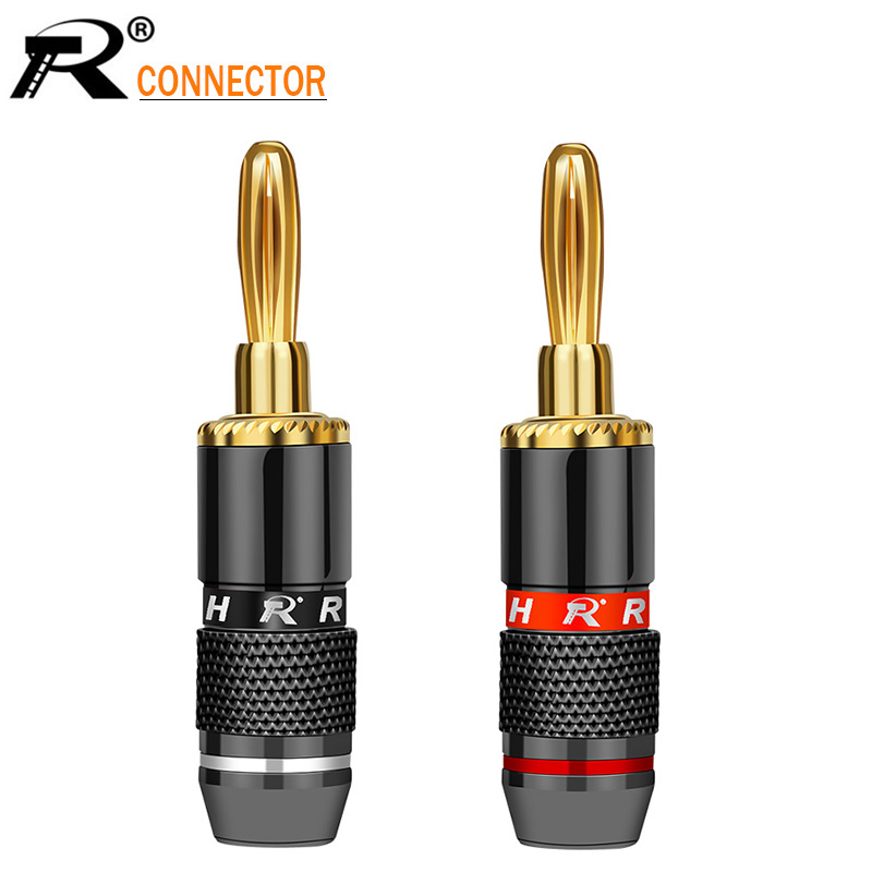 R 2Pcs/1Pair Non-Magneti Banana Plugs Audio Speaker Binding Post Terminal Banana