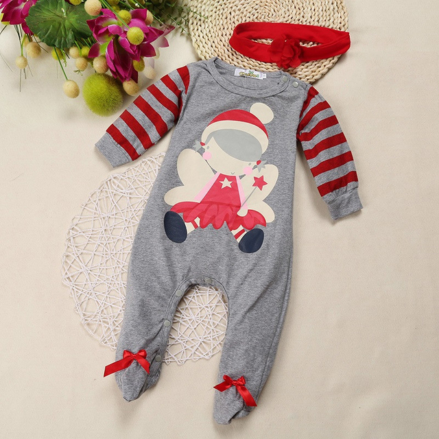 Cute Christmas Single Breasted Cotton Rompers
