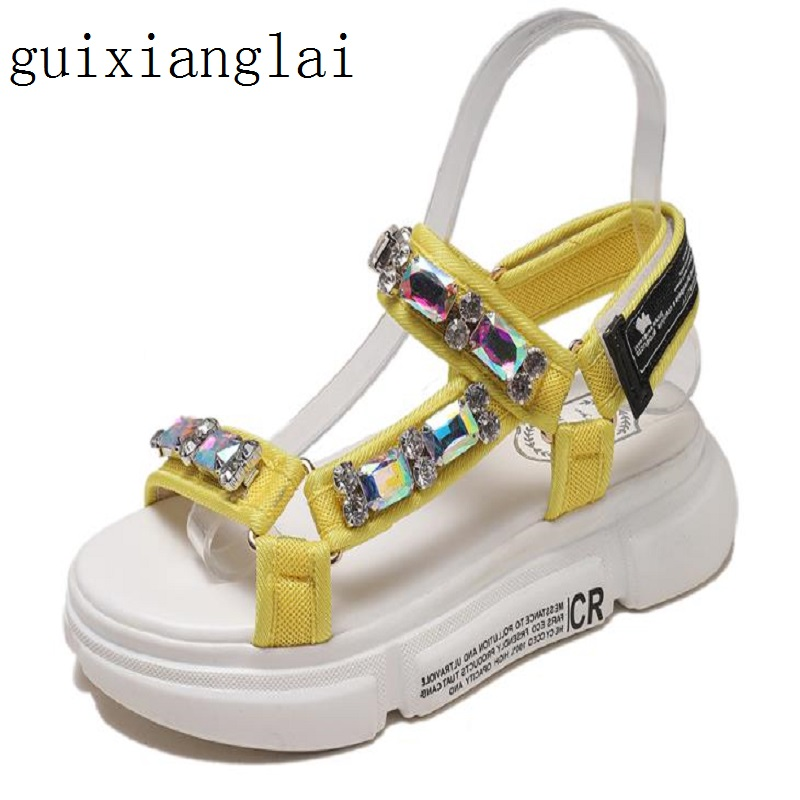 Sports Sandals Velcro Beach-Shoes Rhinestones Female New Toe Muffin-Bottom