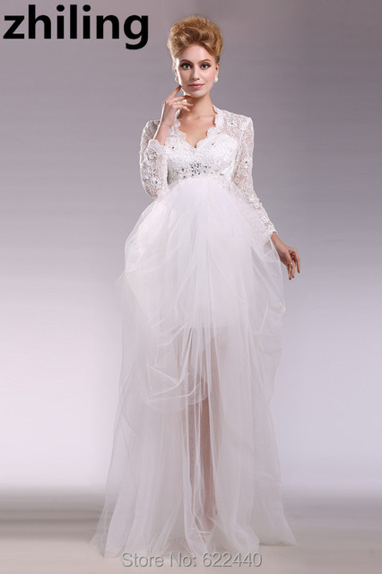 Us 157 0 Sexy Pregnant Woman Wedding Dresses Long Sleeves Wedding Gown Unique Designer A Line Bridal Gown In Wedding Dresses From Weddings Events