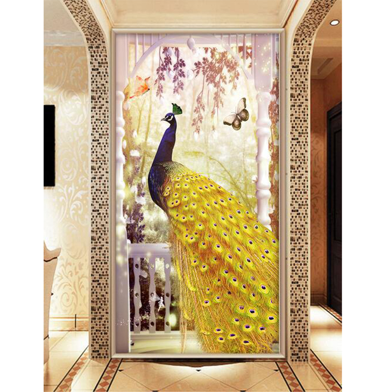 Youran 5D Rhinestone Painting Gold Peacock Dieren Home Decor DIY Diamond Painting Cross Stitch Animal Diamond