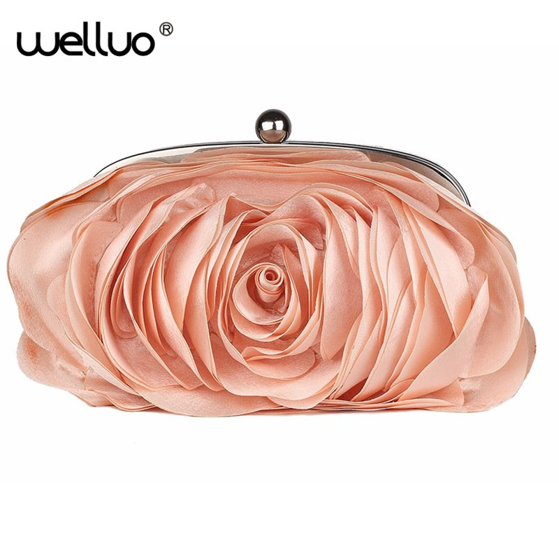 Fashion Floral women Evening Bag Women Rose Flower Bride Clutch Purse Dress Party handbag Wedding Clutch Ladies chain Bag XA766B fashion box evening bag oil painting flower black lock clutch bag strap mini tote bag ladies purse trunk white women handbags