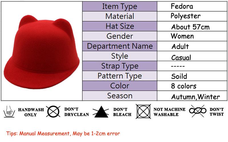ff023ae7769 Cute Felt Fedora Hat For Women Demon Devil Hat Cat Ears Bowler Hal...