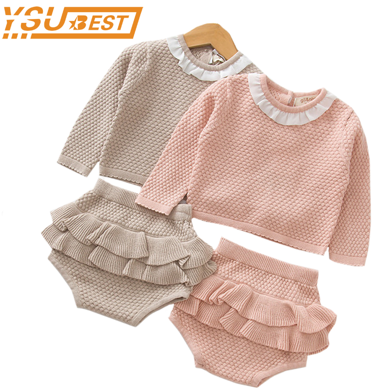 Knitted Newborn Baby Clothes Baby Girls Boys Clothing Set Sweater + Shorts 2 pcs Outfits Ruffle Spring Winter Toddler Baby Set minnie newborn baby girl clothes gold ruffle infant bodysuit bloomer headband set winter jumpsuit toddler birthday outfits