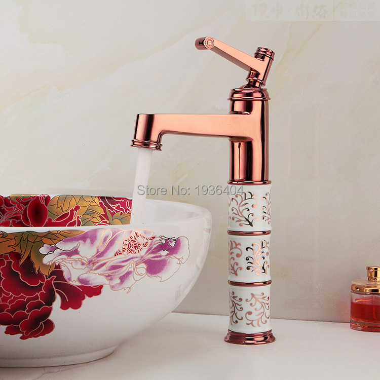 Luxury Rose Golden Bathroom Mixer Faucet Single Handle Basin Vessel Sink Faucet with Hot Cold Water Crane RS326Luxury Rose Golden Bathroom Mixer Faucet Single Handle Basin Vessel Sink Faucet with Hot Cold Water Crane RS326