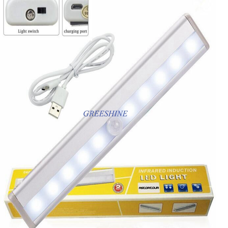 USB Rechargable DC5V 10LEDs Motion Sensor Closet Cabinet LED Night Light Battery Powered 6LED Cupboard Kitchen Cabinet Light Bar tsleen 1x cabinet pir motion sensor led cupboard shed garage light usb battery powered