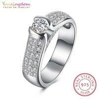 Yunkingdom Ślub Fine Jewelry 925 Sterling Silver Rings dla Kobiet Prezenty Świąteczne