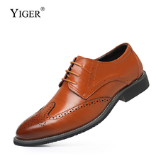 YIGER Men dress shoes Bullock business big size leather lace-up casual male formal wedding 336