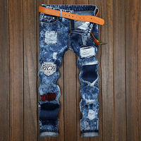 2017 NEW FASHION HOLE BLUE USA Men S Skinny Runway Straight Denim Pants Destroyed Ripped Jeans