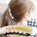 New Special Design Orange & Black Beautiful Simulated Pearls Hairpins Hair Jewelry Banana Hair Clips Accessories for Women