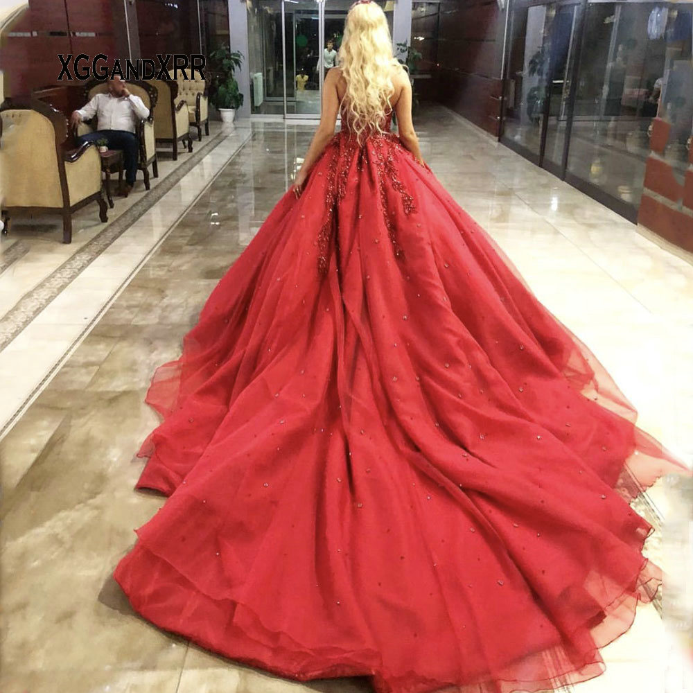 Image 3 - Luxury Ball Gown Prom Dress 2019 Sweetheart Heavy Beading Crystal Sequins Red Long Evening Dresses Royal Train Plus Size-in Prom Dresses from Weddings & Events