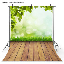 MEHOFOTO Background Spring Scenery Backdrop Happy Easter Festival Photo Backgrounds Green Grass Wooden Floor Backdrops for