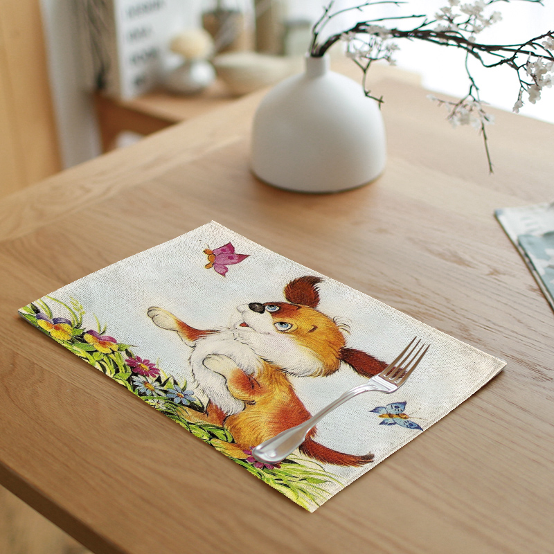 Hot Sale 42x32cm Animal Tablecloth Fox Ladybug Butterfly Puppy Pattern Cup Tea Coffee Pad Kitchen Restaurant Decor Western Pad