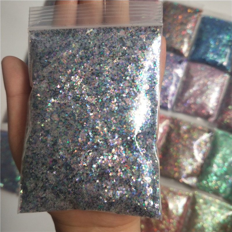 28 Colors Nail Sequins 50g bag Flakes Sparkly Glitter Paillettes Mixed Size Hexagon Sequin 3D Manicure Nails Art Decorations MD1 in Nail Glitter from Beauty Health