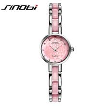 Nueva Sinobi Relojes Mujeres Rosado Lindo Imitado Ladies Relojes Pulsera de Lujo con Correa De Acero Fino De Cerámica de Moda Relojes de Las Mujeres