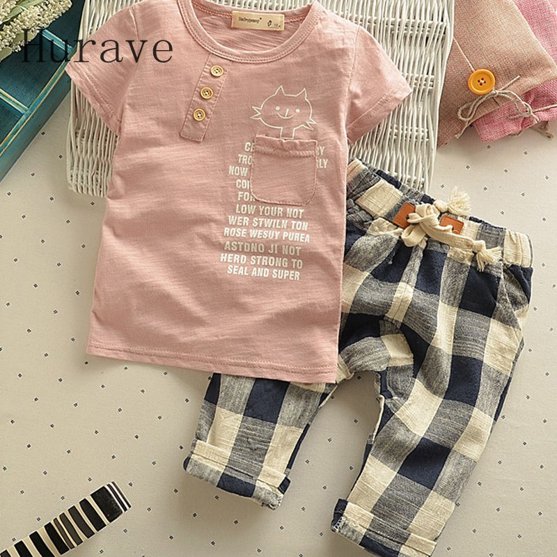 Hurave 2017 Boys&Girls Summer Clothes sets Short-Sleeve Fashion T-shirts+ Lattice Pants Kids Clothing Set Baby Boys Clothing Set kids girls summer 2014 new o neck short sleeve floral sports suits fashion print cartoon clothing sets t shirts and pants h2691