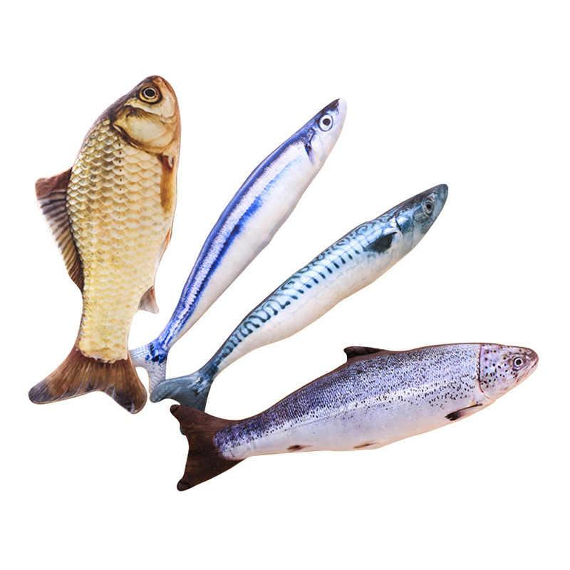Pet Morbido Peluche 3D Forma di Pesce Gatto Giocattolo Interattivo Regali di Pesce Catnip Giocattoli Farcito Cuscino Della Bambola di Simulazione di Pesce Che Gioca Giocattolo per Animali Da Compagnia