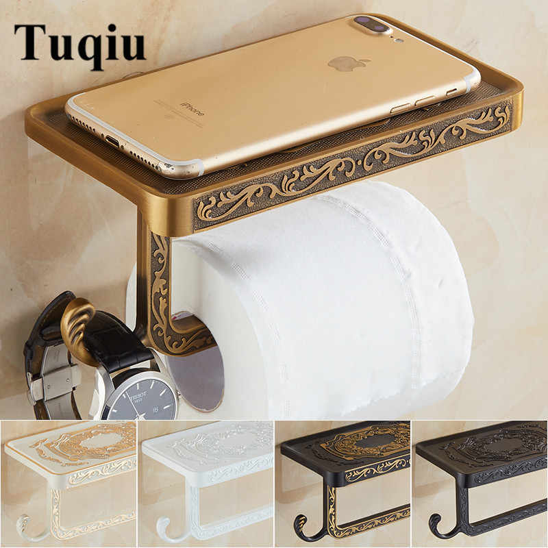 Wall Mounted Toilet Paper Holder Bathroom Accessories Fixture Antique Carved Roll Paper Holders with Phone Shelf