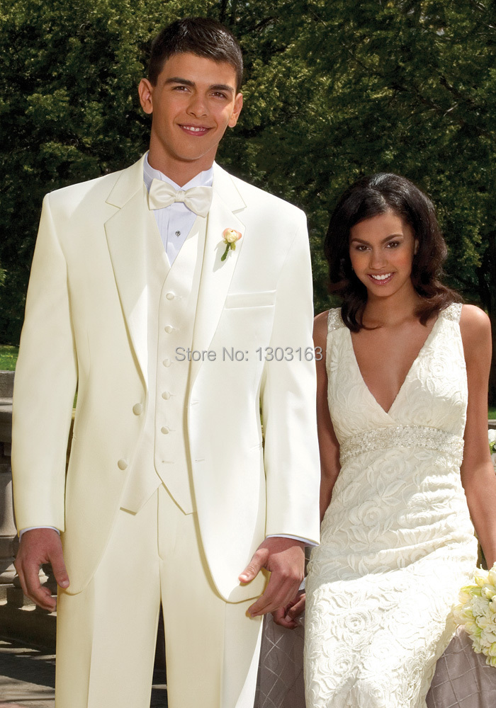 Custom Color And Size Ivory Two Buttons Notch Lapel Groom Tuxedos