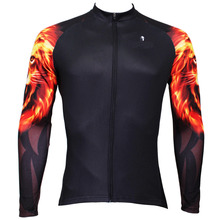 """Golden Lion Arm"" Men Bike Clothing Long Sleeve Shirts Bicycle Cycling Jersey T-shirt Black X370"