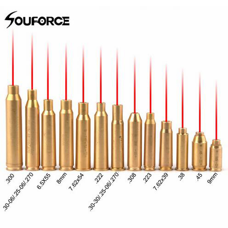 Red Dot Laser Brass Copper Boresight CAL Cartridge Bore Bighter For Scope Hunting Adjustment