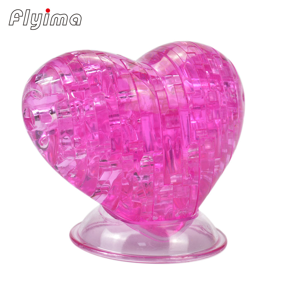 Sweat-heart 3d puzzle DIY Three-dimensional acrylic crystal puzzles rompecabezas 3d montessori educational Toys for children