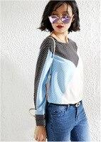 PIXY небесно голубые шелковые футболки в горошек летняя рубашка с длинными рукавами женские роскошные Топы пуловеры, футболки рубашки повсед