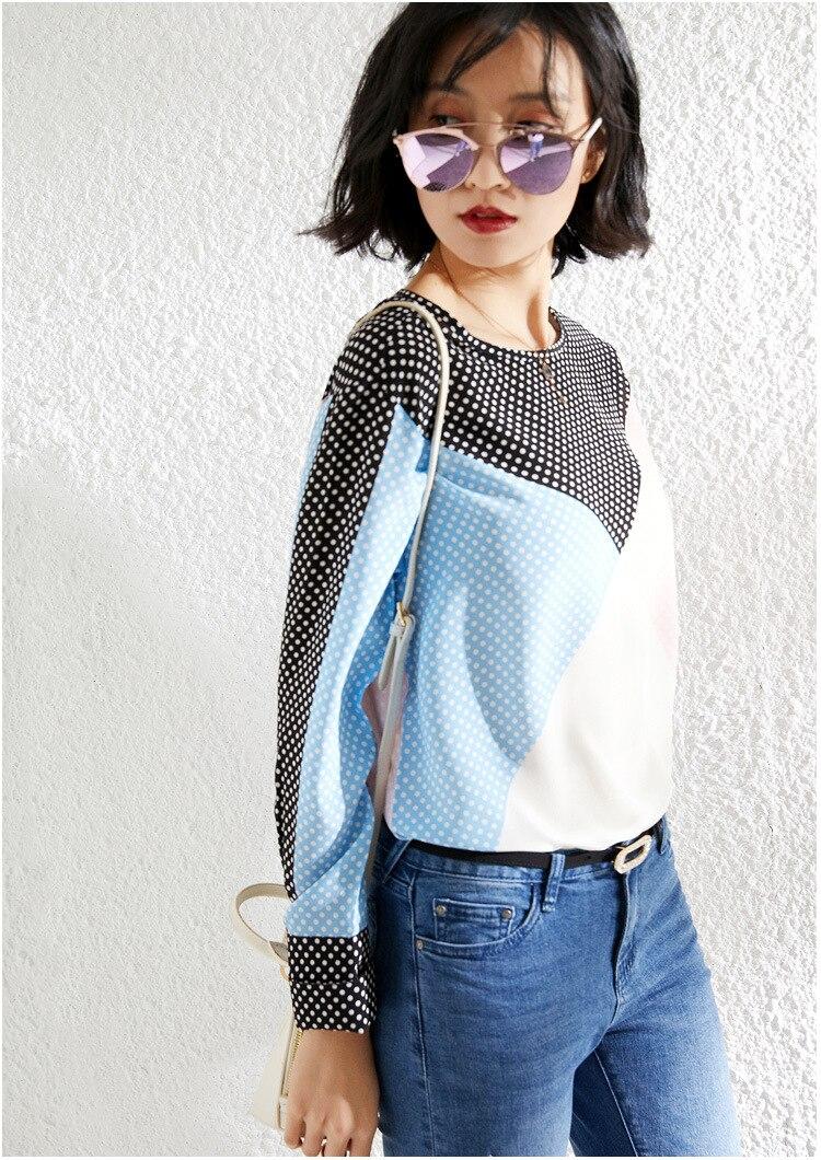 PIXY bleu ciel à pois soie t-shirts d'été à manches longues chemise femmes de luxe dames hauts pull t-shirts chemises vêtements décontractés Chic