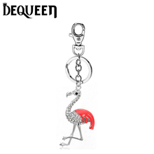 Dequeen Key Chain Crystal Red crowned Crane Keychain Jewelry Handmade Art Metal Pendant Keyring Key Ring