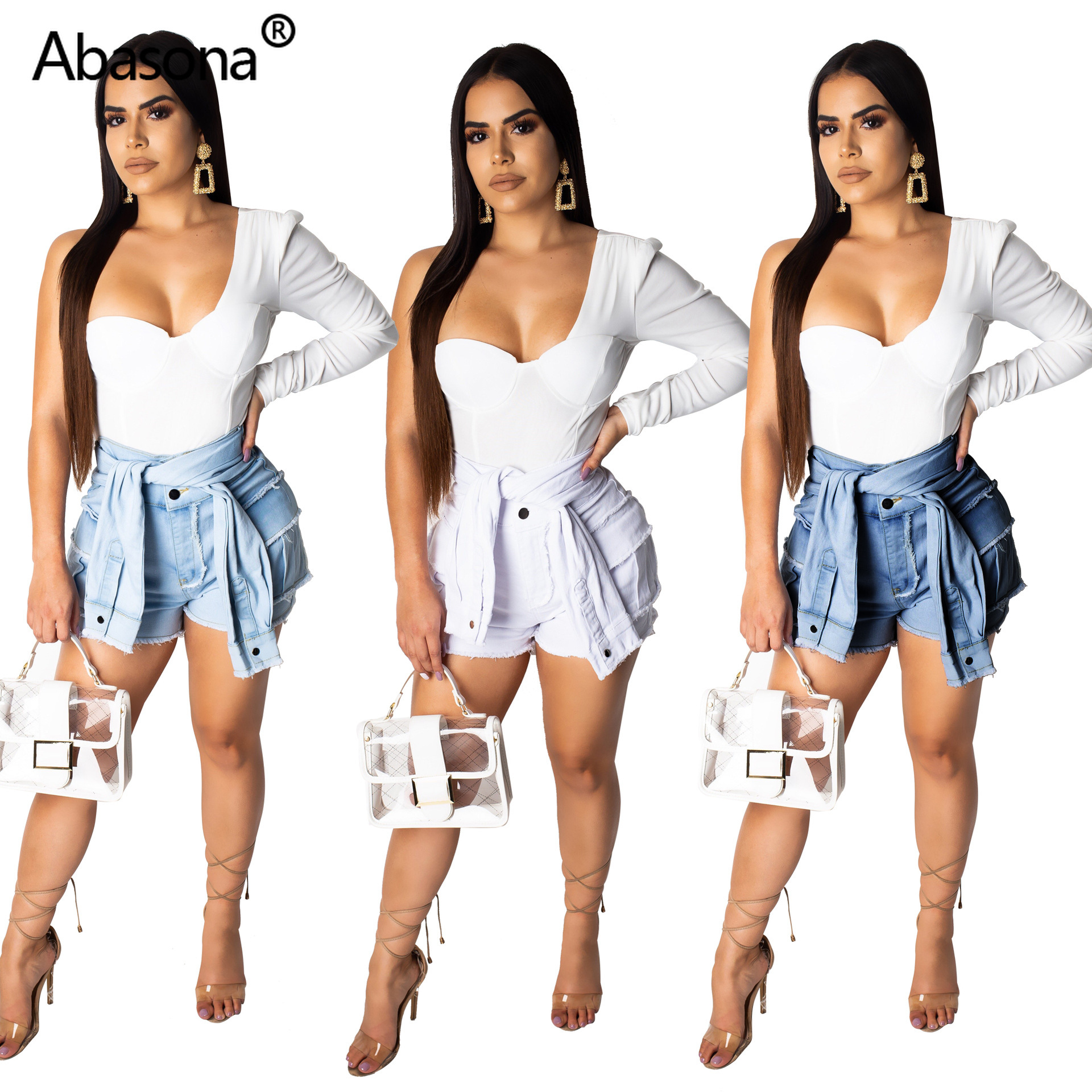 2019 Women Summer High Waist Tie Up Zipper Fly Fashion Pockets   Short   Jeans White Vintage Casual Denim   Shorts   Trouser