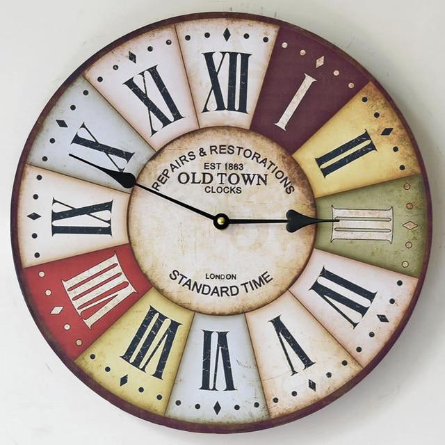 Klasik Pastoral Jam Dinding Kayu Dekoratif Hiasan Dinding Jam Kreatif Eropa  Pola Home Decor Hadiah 910f4af3b2