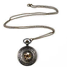 цена на Roman Dial Quartz pocket watch relogio debolso Bronze Black pocket watch Steampunk Retro Men Women Necklace Pendant Pocket Watch