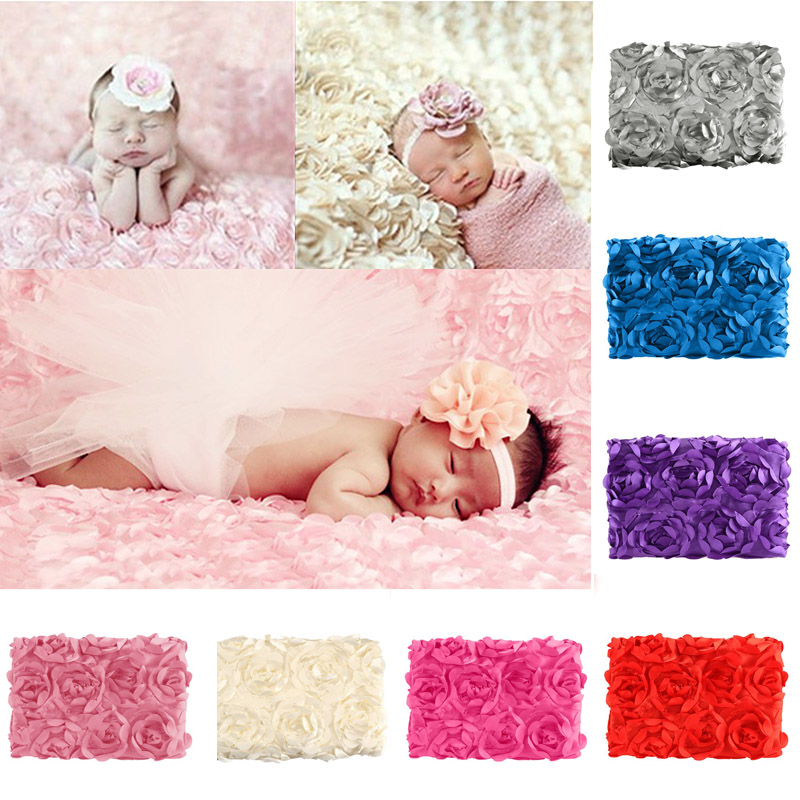 2017 New Baby Photography Photo Props 3D Rose Flower Backdrop Beanbag Blanket Rug fotografia linens cover Special