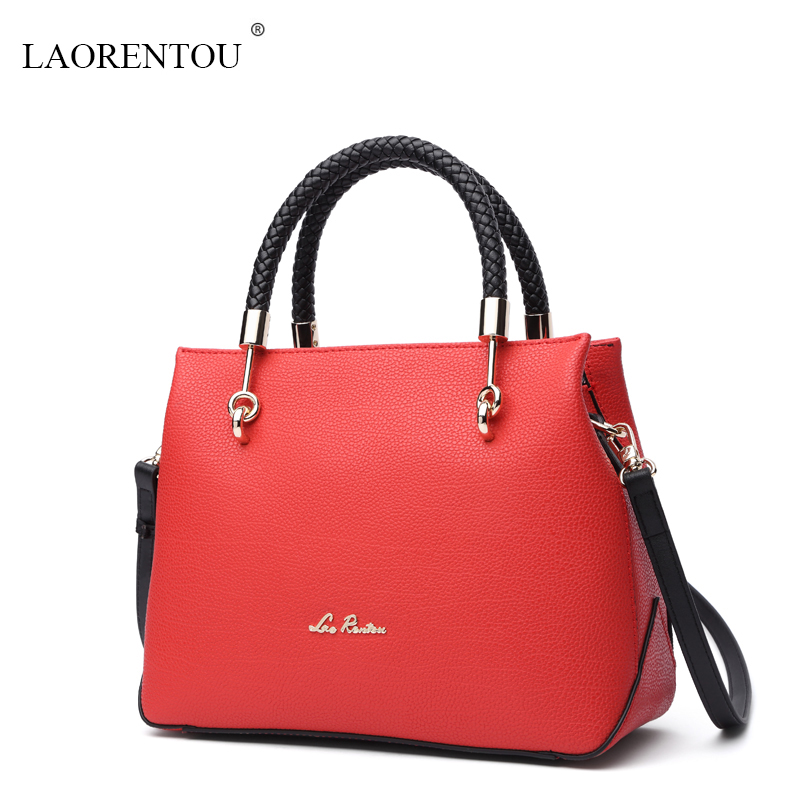 ФОТО LAORENTOU 2016 new Women Summer High Quality Leather Handbag Famous Brand fashion shoulder bag Messenger bag ladies Classic tote