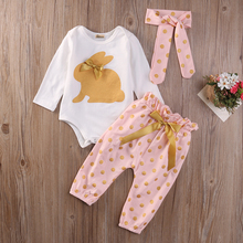 3Pcs Cute Newborn Infant Baby Girls Rubbit Outfits Clothes Summer Autumn Bunny Print Rompers Gold Dots Long Pants Outfits Set