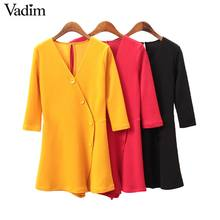 Vadim women V neck solid playsuits three quarter sleeve stretchy rompers female A line casual red