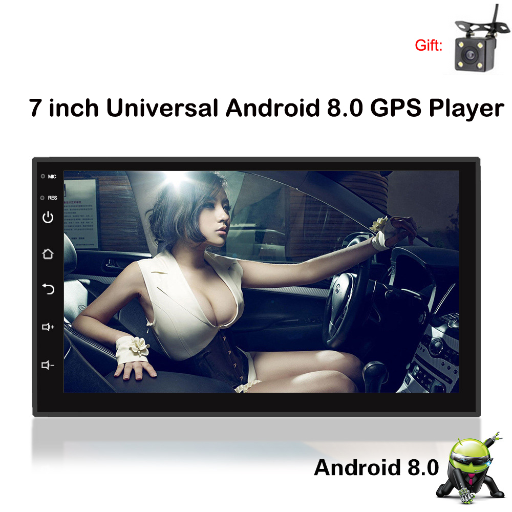 Android 8.0 7 Inch Car GPS Navigation mp5 Player Auto Car audio MP4 Player Wifi Quad Core 2 din stereo In dash Radio Bluetooth