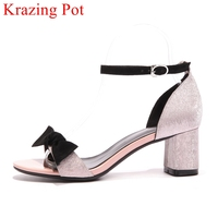 2018 New Arrival Butterfly Knot Peep Toe Square Heel Women Sandals Buckle Strap Office Lady Wedding
