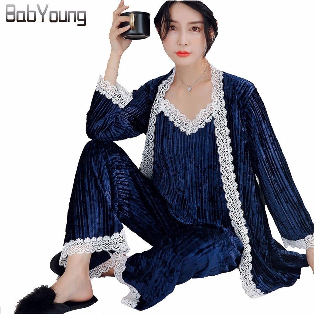 BabYoung Autumn Winter Warm Velvet Women   Pajamas     Set   Long Sleeve Robe Sexy Lace Patchwork Spaghetti Strap Loose Pants Blue 3 Pcs