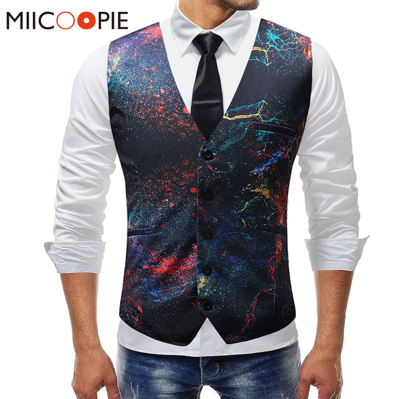 New Dress Vests For Men Slim Fit Casual Graffiti Printed Sleeveless Jacket Coat Mens Formal Waistcoats Dress Suit Vest 5XL