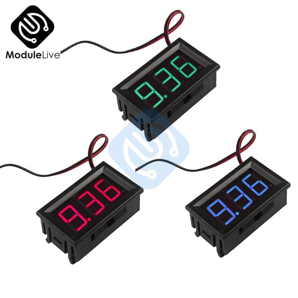 0.56'' 0.56 Inch 2 Wires Digital LED Voltmeter DC 4.5-30V Vehicles Motor Volt Voltage Panel Meter Voltmeter Tools Red Green Blue