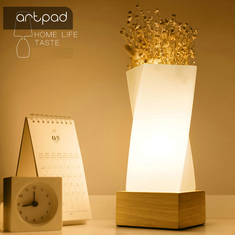 Artpad Nordic Simple Flower Tabletop Light Solid Wood E27 <font><b>Base</b></font> Glass Lampshade Dining Room <font><b>Table</b></font> Night <font><b>Lamp</b></font> Bedside Lighting image