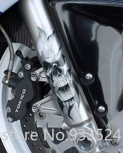 US $12 23  Motorcycle Front Fork Skull Decals For Harley Sportster Softail  Dyna Electra Glide Street Glide-in Decals & Stickers from Automobiles &
