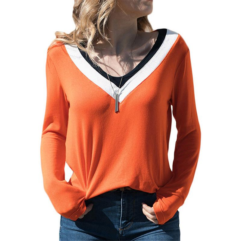 New Autumn And Winter Fashion Women's T-shirt Casual Slim Stretch Top Cotton Striped Stitching V-neck Long Sleeved T-shirt