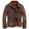 2017 New Men Retro Vintage Brown Leather Jacket Turn-down Collar Real Cowhide Short Slim Fit Men Winter Biker Coat FREE SHIPPING