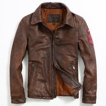 2017 New Men Retro Vintage Brown Leather Jacket Turn-down Collar Real Cowhide Short Slim Fit Men Winter Biker Coat FREE SHIPPING