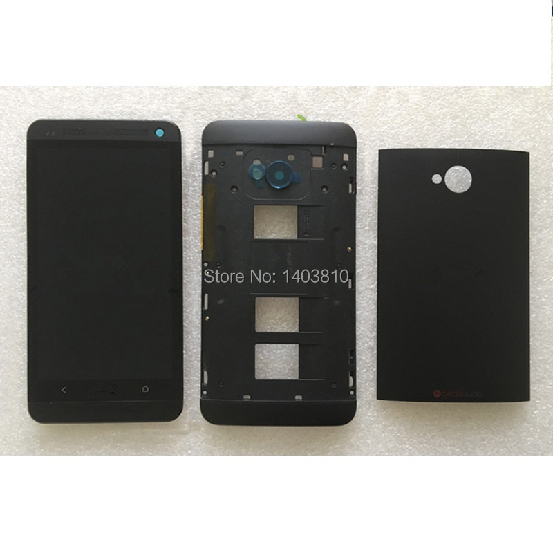 ФОТО Full Housing Battery Back Cover Case For HTC One M7 Dual Sim 802T 802W 802D Front Frame + LCD Display Touch Digitizer Screen
