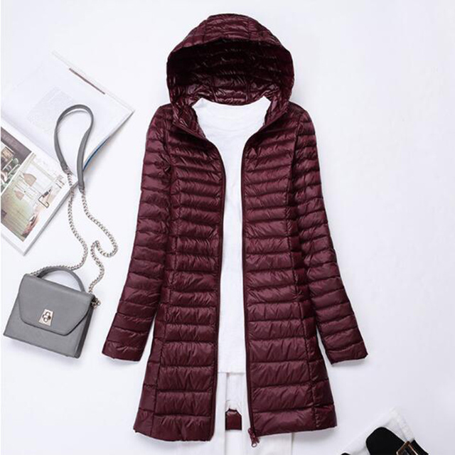 SEDUTMO Winter Long Ultra Light Duck Down Jackets Women  Down Coat Spring Puffer Jacket Slim Hooded Parkas ED230 3