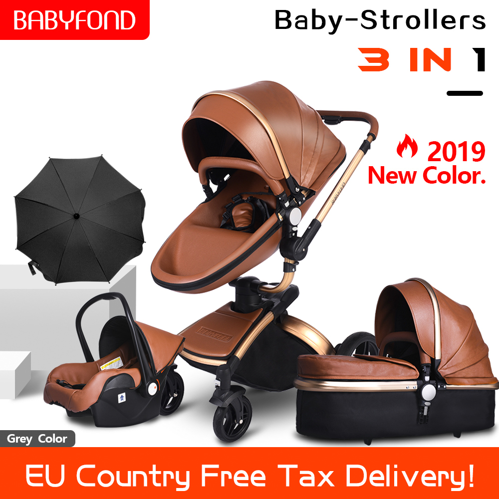 2019 PU Leather Newborn Carriage Gold Frame Baby Stroller 360 Degree Rotation High Landscape 3in1 Stroller SUV Suspension 6 Gift