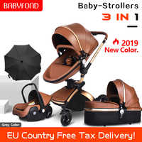 2019 new set PU Leather gold frame white baby stroller 360 degree rotation high landscape 3in1 stroller SUV suspension 6 gifts